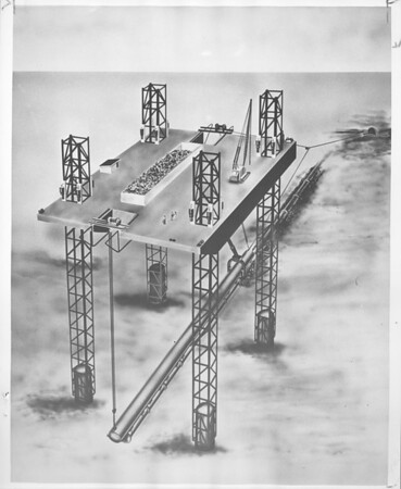 Drawing of world's largest pipe rig, Los Angeles, 1958