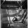A keeper drops a fish to a waiting seal in an enclosed pool at Venice Aquarium, Venice, California, [s.d.]