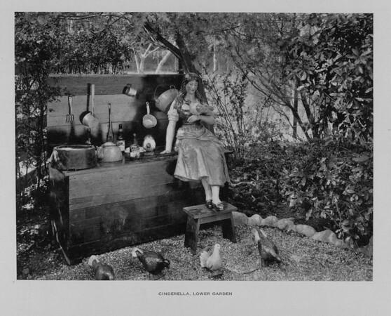 A statue of Cinderella feeding birds in the Lower Garden of Busch Gardens, ca. 1910-1940