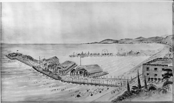 Artist's conception of amusement parks on 2 piers at Venice Beach, 1925