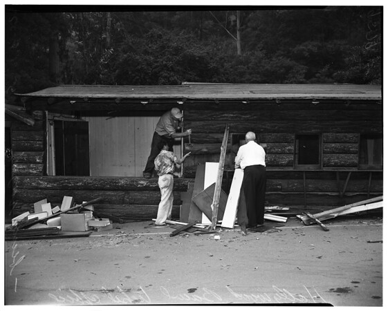 Tearing down ticket office at Hollywood Bowl making way for new construction, 1952