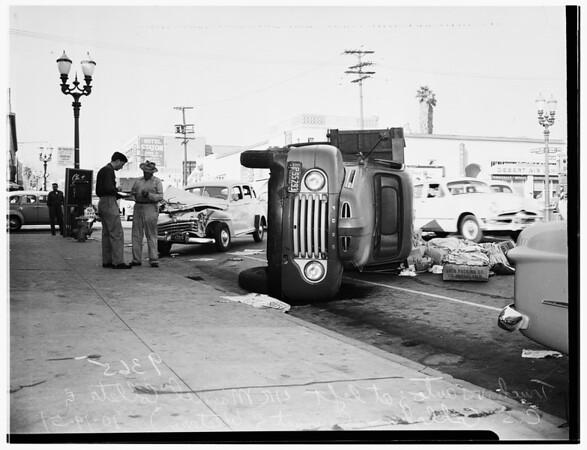 Auto versus truck crash...Sunset Boulevard and Western Avenue, 1951