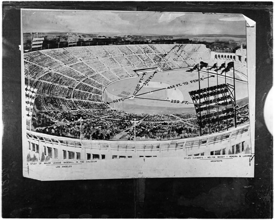 Artists conception of baseball diamond in Los Angeles Coliseum, 1953