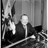 Senator William F. Knowland (at press conference), 1958