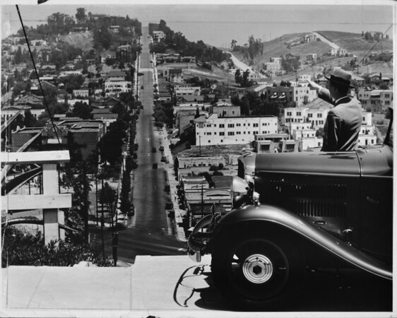 View of the Micheltorena Street hill from Sunset Boulevard, facing north