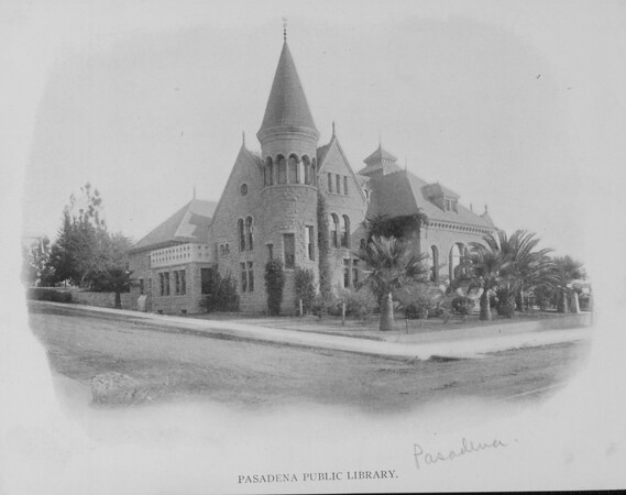 Corner view of the Old Pasadena Public Library, ca. 1910-1940