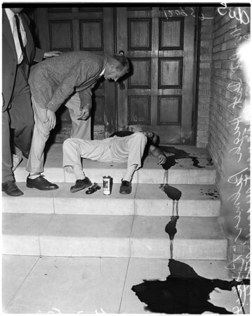Suicide on church steps (14th Street and Union Street), 1957