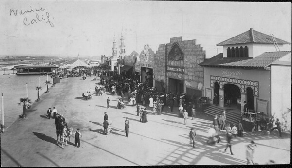 Early photograph of the Venice amusement park center at Venice Boulevard between Seventeenth Street and Thirty-fourth Street along the ocean front, ca.1890-1910