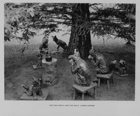 The Fox Family and the Wolf in the Lower Garden of Busch Gardens, ca. 1910-1940