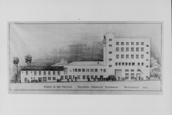 An architect's sketch of the new and old sections of the Pasadena Playhouse, ca. 1930