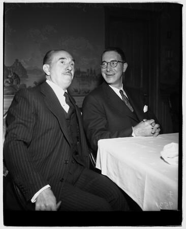 Kefauver luncheon, Warner Brothers Studio, 1952