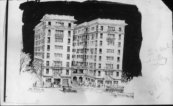 A drawing of the Pasco Apartments, Pasadena, 1923