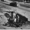 Sinkhole on Cushdon Avenue at Overland Drive from water main burst, Los Angeles, 1948
