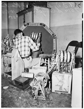 Gambling raid...veterans of foreign wars?...7514 S. Compton Avenue, 1951