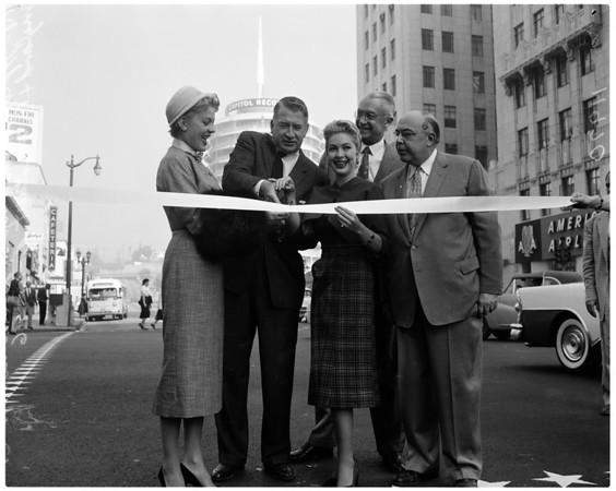 Hollywood Boulevard and Vine Street million dollar glamorization, 1956