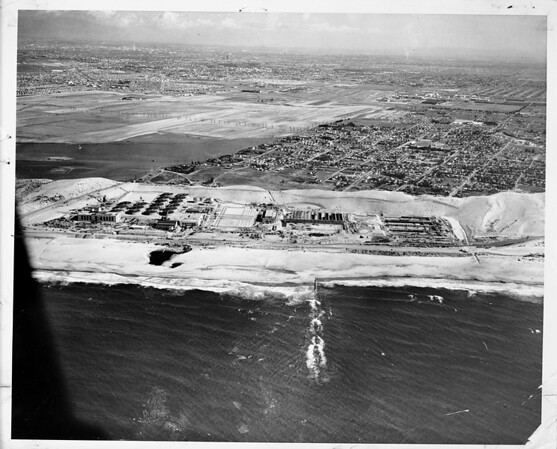 Aerial view of Hyperion Sewer Plant, Los Angeles, 1950