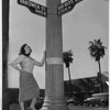 Deane Thasher stands at California's center of population, Van Nuys, 1954