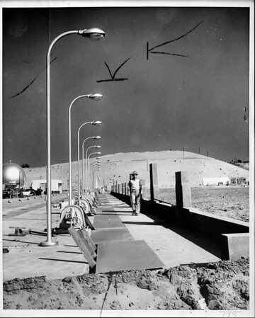 Hyperion sewage treatment primary settling plant under construction, Los Angeles, 1950