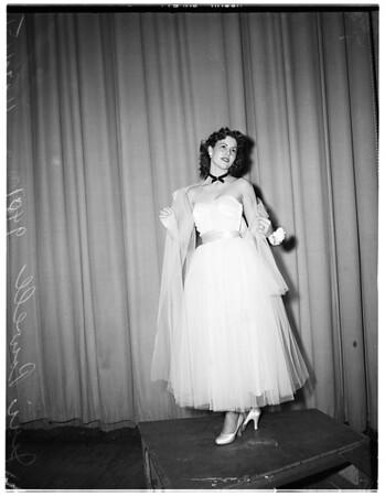 Pasadena Tournament of Roses...Queen of $10,000 Long Beach float, 1951