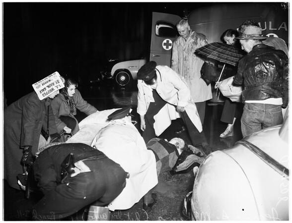 Hit by car (Long Beach) Bellflower Boulevard at Veterans Administration Hospital entrance, 1952