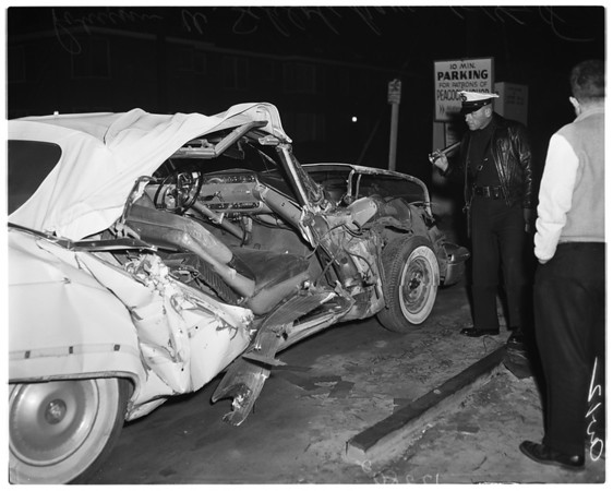Car versus freight train at JeffersonBoulevard and La Brea Avenue, 1958