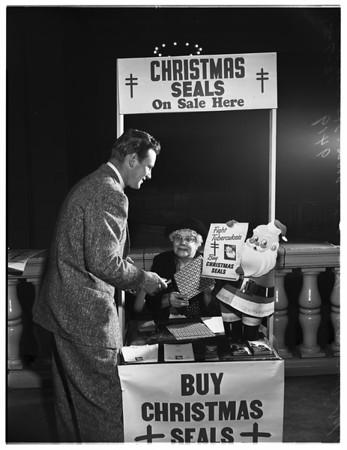 Christmas seal booth opened...subway terminal building, 1951