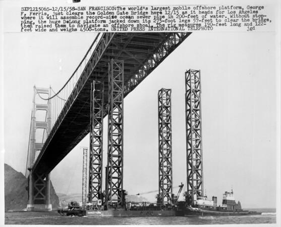 World's largest mobile offshore platform, San Francisco, 1958