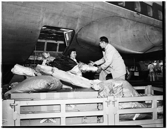 Flowers from Hawaii arrive via plane (International Airport), 1952