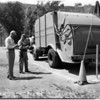 Rubbish truck driver tests in Chavez Ravine, 1957
