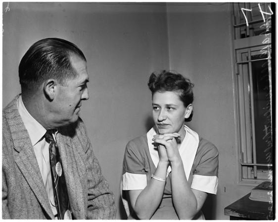 Amnesia girl at Long Beach City Jail, 1958