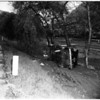 Auto into ditch ...over embankment on Riverside Drive, near Los Feliz, 1952