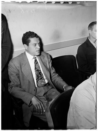 Preliminary hearing on bribery charges at Pasadena Municipal Court, 1952