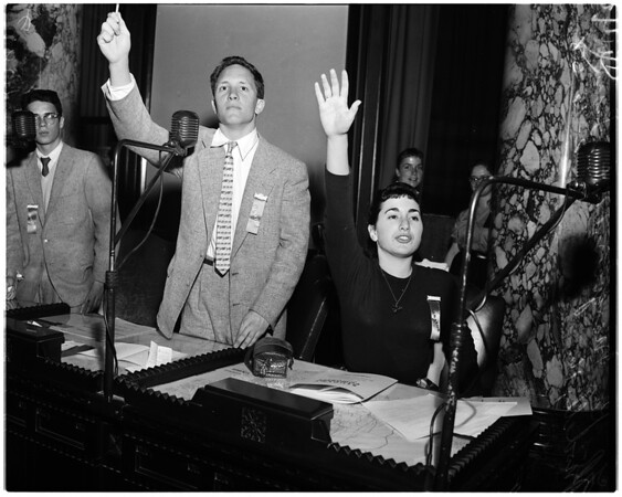 Studnet Congress in City Council Chamber at City Hall, 1958