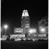 City Hall tower lighted, 1958