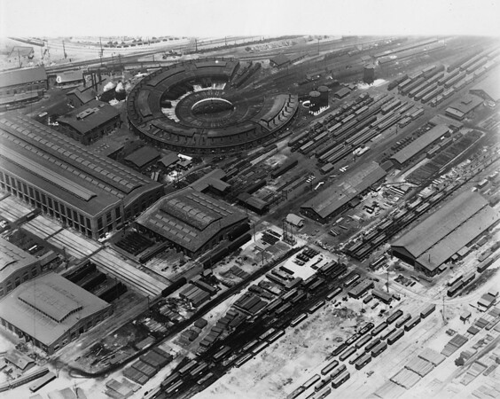 View of Southern Pacific roundhouse and portion of vast network of transportation lines