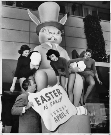 This large rabbit is being setup for the upcoming Easter festivities, here on Wilshitre Boulevard