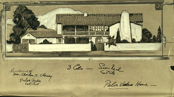 An architect's sketch for the residence of Charles H. Cheney of Palos Verdes Estates