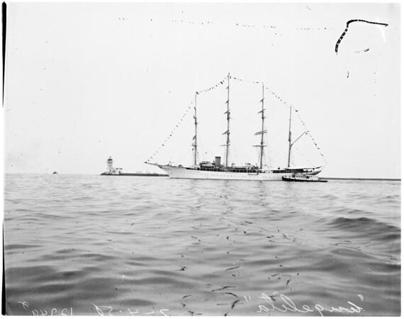 "Yacht ""Angelita"" (in full dress), (flags), 1958"