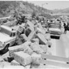 Hay truck accident on freeway, 1959
