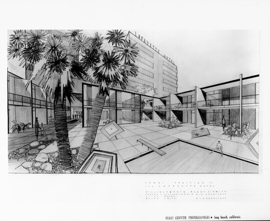 Artist's conception of the Lanai addition to the LaFayette Hotel (closeup), designed by architects Ellingsworth, Brady & Smith