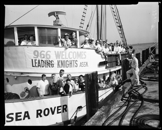 Elks Lodge of Southern California guests of San Pedro Elks on tour of Los Angeles Harbor, 1958