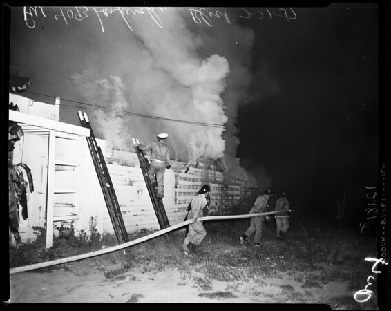 North Hollywood fire at 4093 Lankershim Boulevard (National Appliance Inc., North Hollywood), 1957