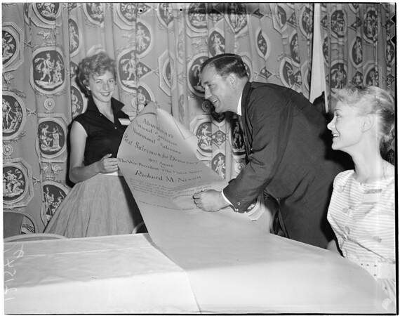 Best salesman for democracy scroll signed for Nixon, 1957