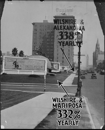 Photo of the intersections of Wilshire Boulevard and Mariposa Avenue, and of Wilshire Boulevard and Alexandria Avenue, facing east