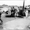 Cement truck wreck in San Pedro, 1958