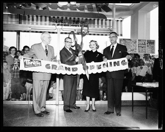 New thrifty drug store opening (number 112 132nd Street Hawthorne Boulevard), 1952