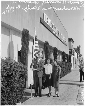 Installing flag at Democratic Headquarters, 1961