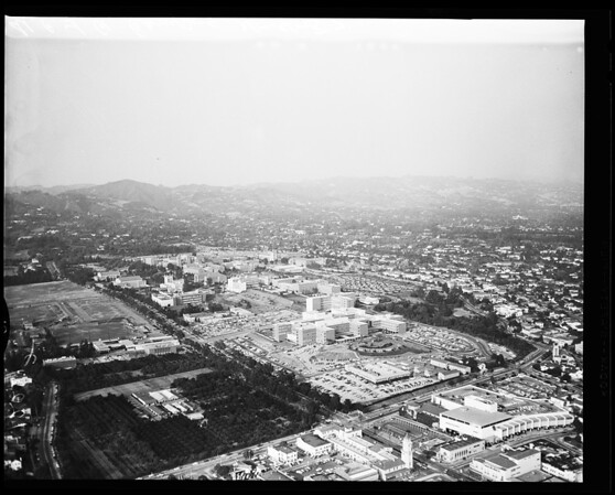 Aerial shots of University of California Los Angeles campus, 1957