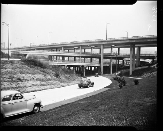 Four level freeway interchange near Los Angeles Civic Center, 1952