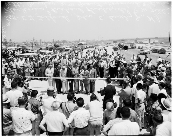 Long Beach freeway opening, 1958